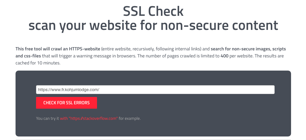 SSL Check scan your website for non-secure content
